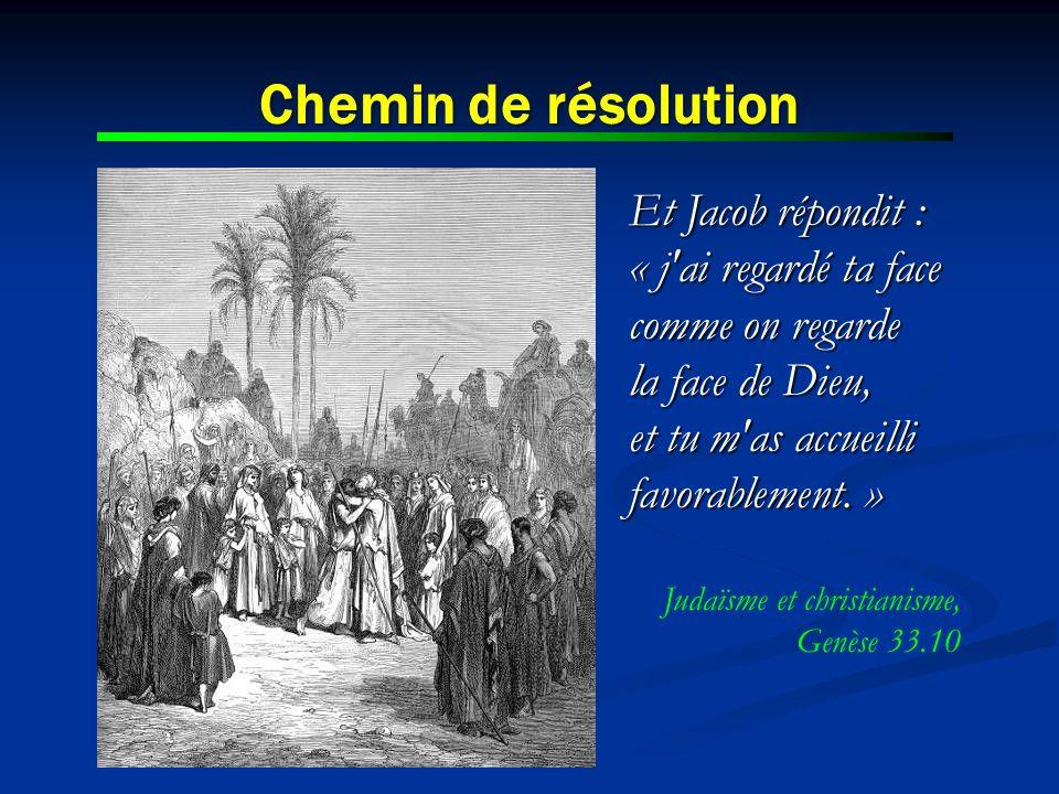 Chemin de résolution Et Jacob répondit : « j'ai regardé ta face comme on regarde la face de Dieu, et tu m'as accueilli favorablement. » Judaïsme et ch