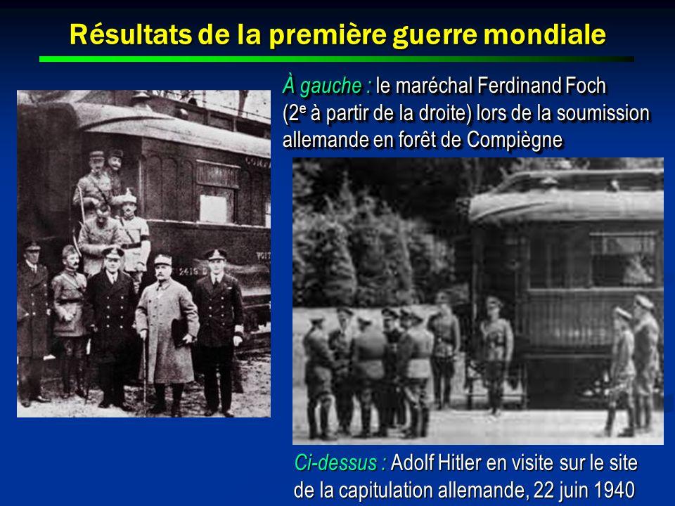 Résultats de la première guerre mondiale À gauche : le maréchal Ferdinand Foch (2 e à partir de la droite) lors de la soumission allemande en forêt de