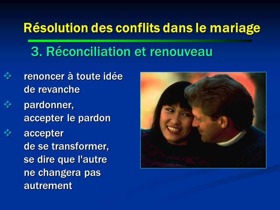 Résolution des conflits dans le mariage renoncer à toute idée de revanche renoncer à toute idée de revanche pardonner, accepter le pardon pardonner, a