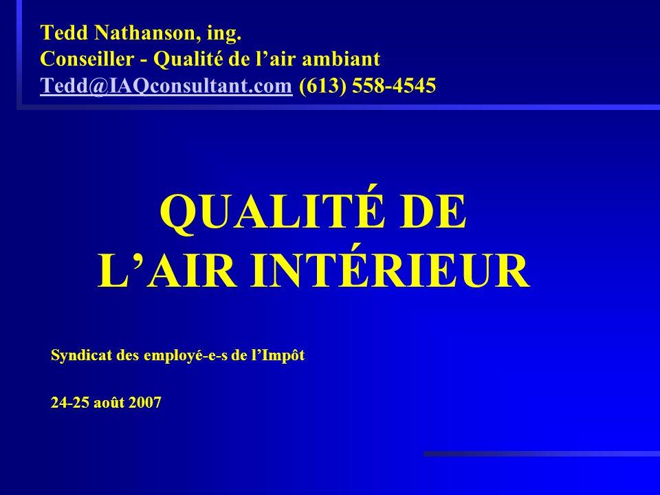 Tedd Nathanson, ing. Conseiller - Qualité de lair ambiant Tedd@IAQconsultant.com (613) 558-4545 Tedd@IAQconsultant.com QUALITÉ DE LAIR INTÉRIEUR Syndi