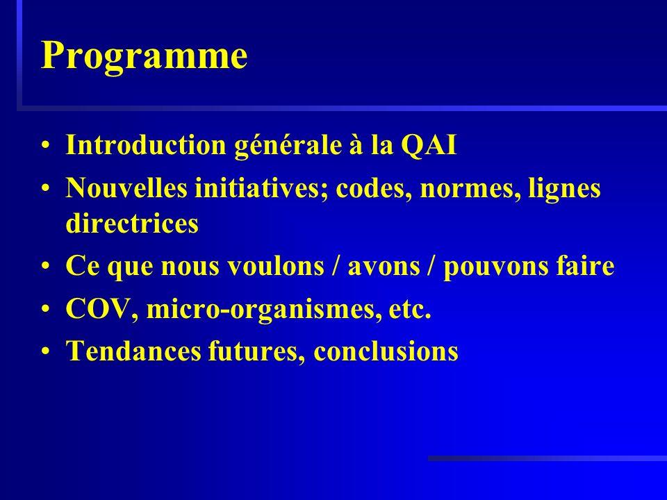 Programme Introduction générale à la QAI Nouvelles initiatives; codes, normes, lignes directrices Ce que nous voulons / avons / pouvons faire COV, mic