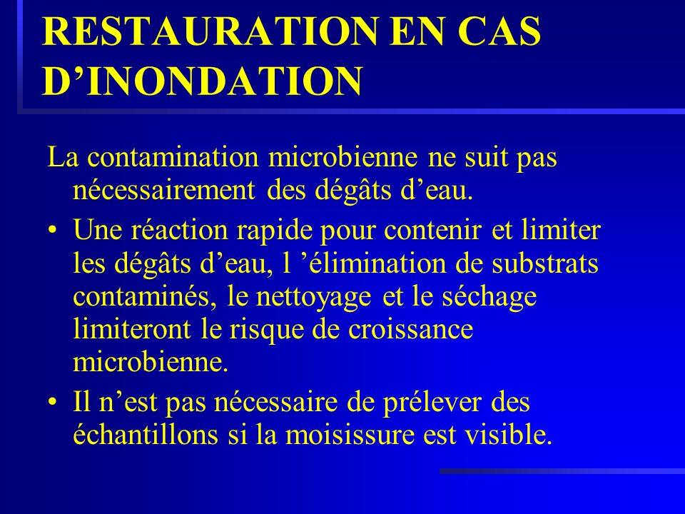 RESTAURATION EN CAS DINONDATION La contamination microbienne ne suit pas nécessairement des dégâts deau. Une réaction rapide pour contenir et limiter