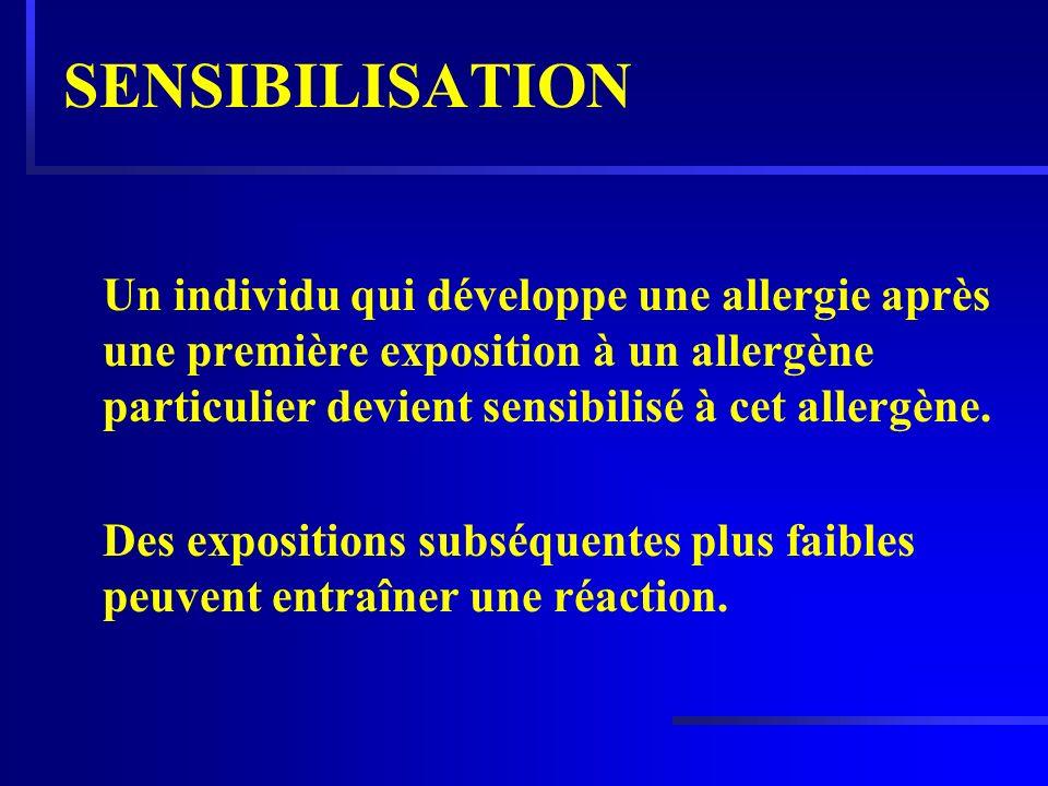 SENSIBILISATION Un individu qui développe une allergie après une première exposition à un allergène particulier devient sensibilisé à cet allergène. D