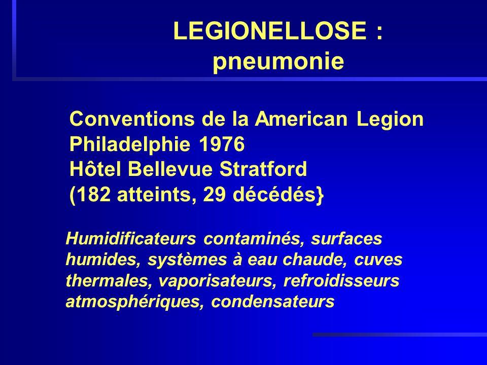 LEGIONELLOSE : pneumonie Conventions de la American Legion Philadelphie 1976 Hôtel Bellevue Stratford (182 atteints, 29 décédés} Humidificateurs conta