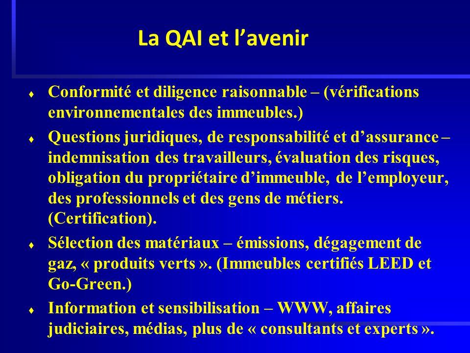 La QAI et lavenir t Conformité et diligence raisonnable – (vérifications environnementales des immeubles.) t Questions juridiques, de responsabilité e