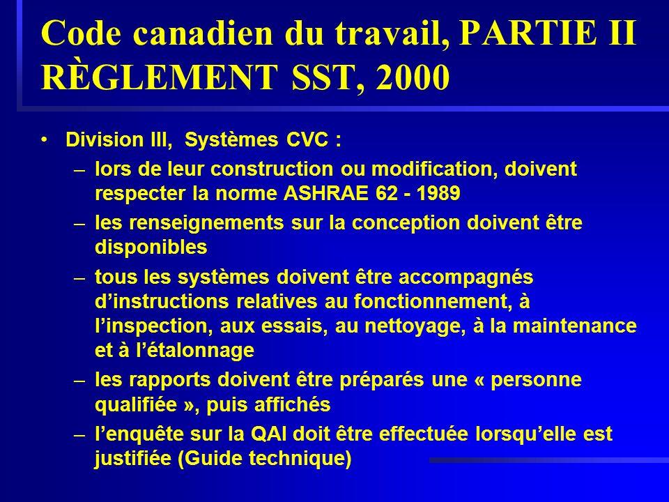 Code canadien du travail, PARTIE II RÈGLEMENT SST, 2000 Division lll, Systèmes CVC : –lors de leur construction ou modification, doivent respecter la