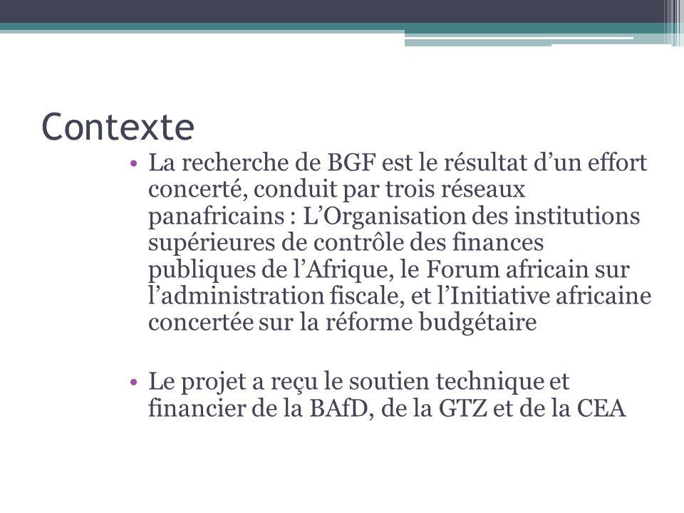 Contexte La recherche de BGF est le résultat dun effort concerté, conduit par trois réseaux panafricains : LOrganisation des institutions supérieures