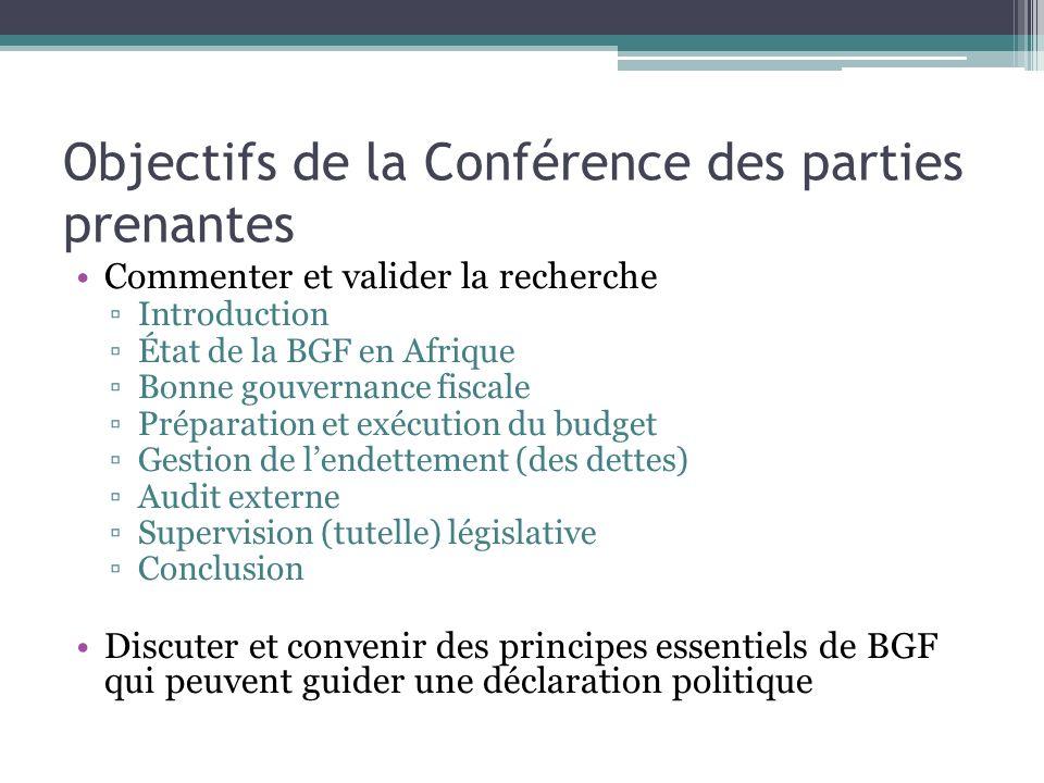 Objectifs de la Conférence des parties prenantes Commenter et valider la recherche Introduction État de la BGF en Afrique Bonne gouvernance fiscale Pr