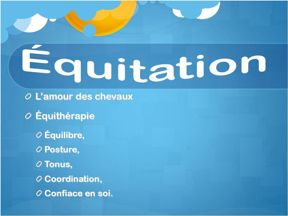 Lamour des chevaux ÉquithérapieÉquilibre,Posture,Tonus,Coordination, Confiace en soi.