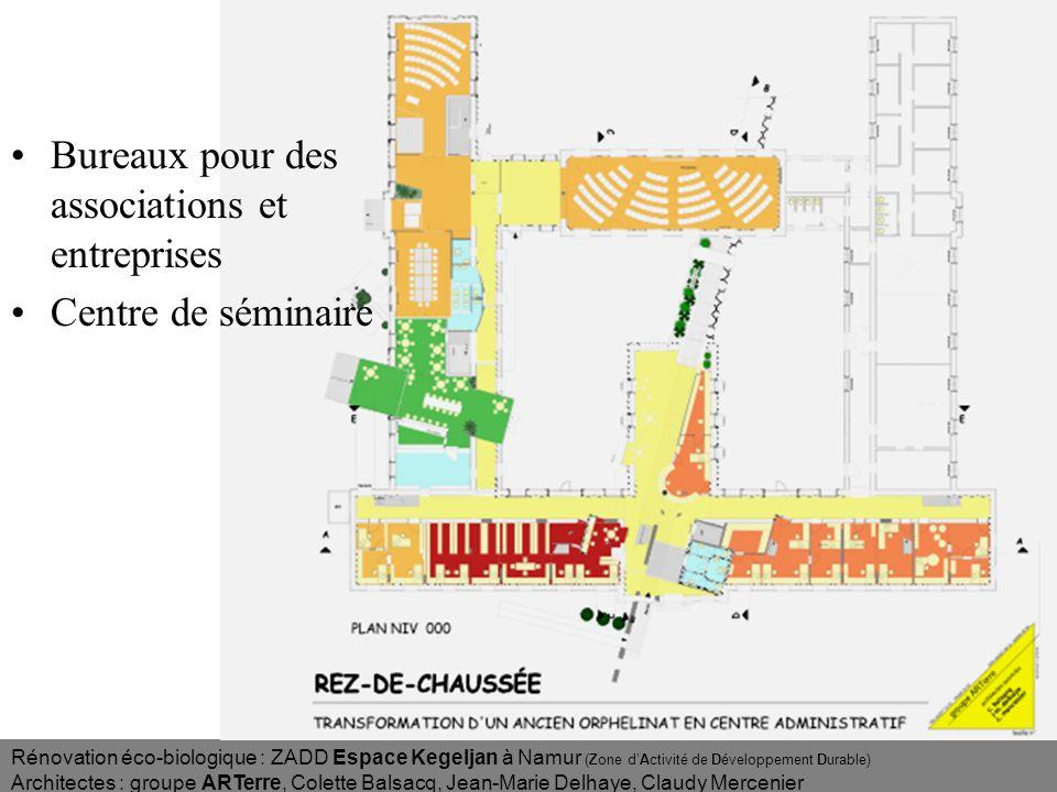 Rénovation éco-biologique : ZADD Espace Kegeljan à Namur (Zone dActivité de Développement Durable) Architectes : groupe ARTerre, Colette Balsacq, Jean-Marie Delhaye, Claudy Mercenier Plan Rez Est, accueil et bureaux + mezzanines