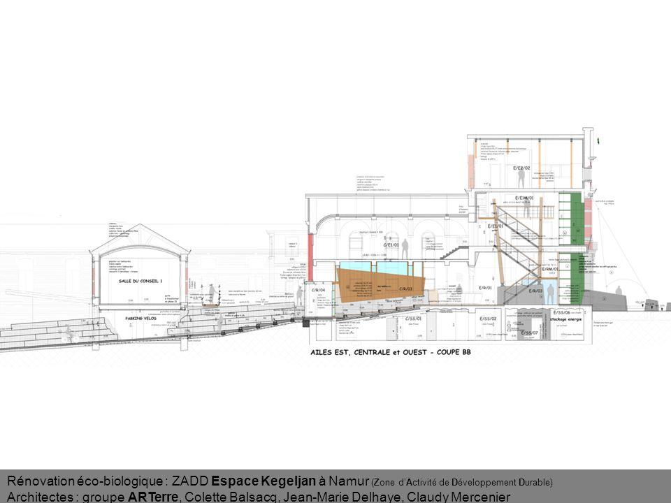 Rénovation éco-biologique : ZADD Espace Kegeljan à Namur (Zone dActivité de Développement Durable) Architectes : groupe ARTerre, Colette Balsacq, Jean-Marie Delhaye, Claudy Mercenier Percée entrée avant Lumière