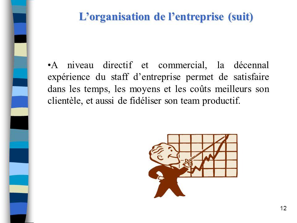12 Lorganisation de lentreprise (suit) A niveau directif et commercial, la décennal expérience du staff dentreprise permet de satisfaire dans les temp
