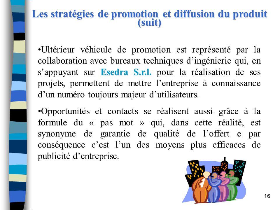 16 Les stratégies de promotion et diffusion du produit (suit) Esedra S.r.lUltérieur véhicule de promotion est représenté par la collaboration avec bur