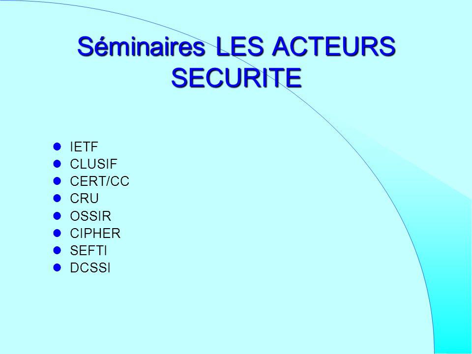 Séminaires LES ACTEURS SECURITE IETF CLUSIF CERT/CC CRU OSSIR CIPHER SEFTI DCSSI