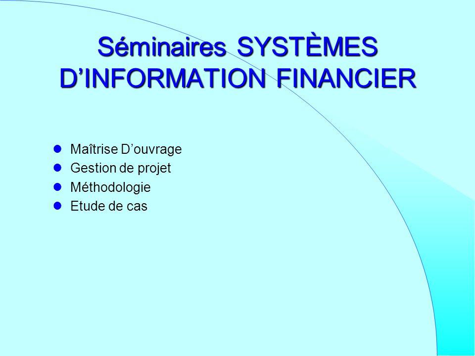 Séminaires SYSTÈMES DINFORMATION FINANCIER Maîtrise Douvrage Gestion de projet Méthodologie Etude de cas