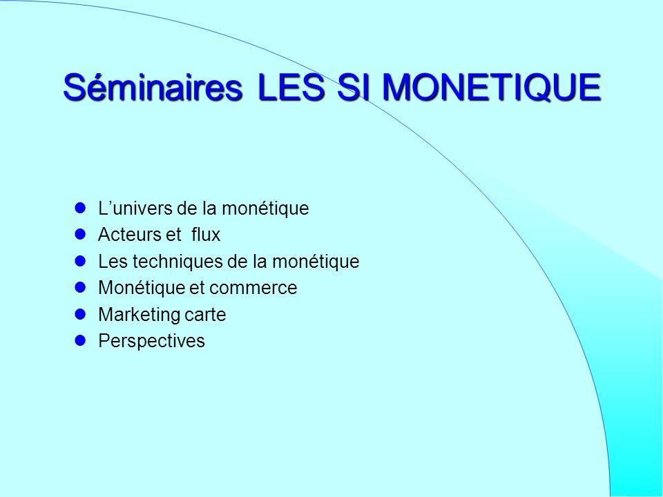 Séminaires LES SI MONETIQUE Lunivers de la monétique Acteurs et flux Les techniques de la monétique Monétique et commerce Marketing carte Perspectives