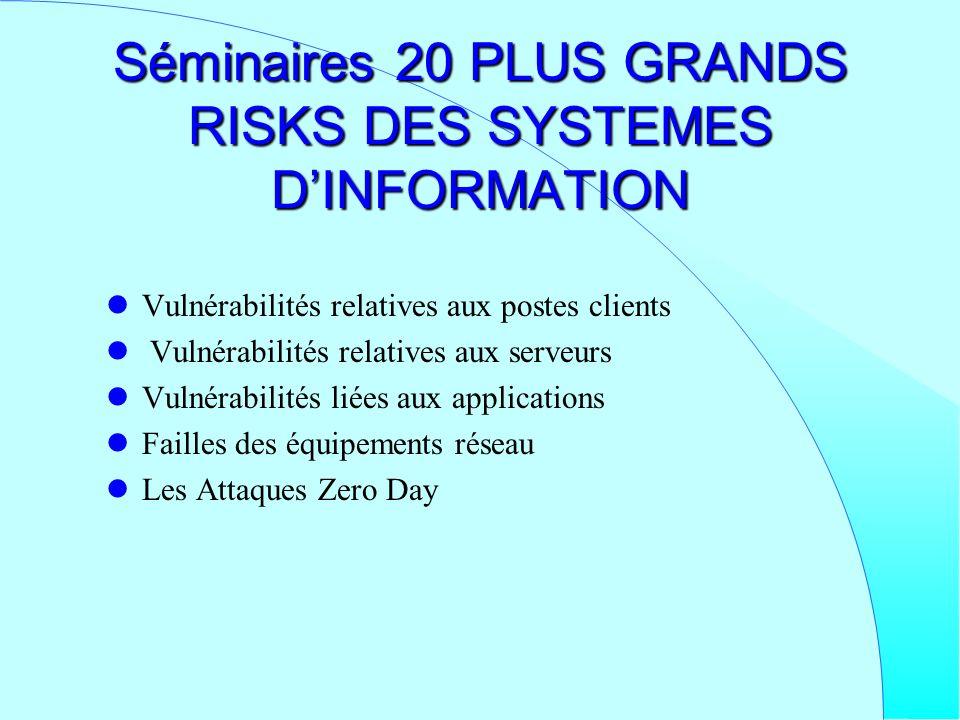 Séminaires 20 PLUS GRANDS RISKS DES SYSTEMES DINFORMATION Vulnérabilités relatives aux postes clients Vulnérabilités relatives aux serveurs Vulnérabil