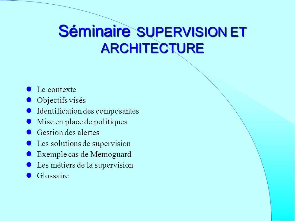 Séminaire SUPERVISION ET ARCHITECTURE Le contexte Objectifs visés Identification des composantes Mise en place de politiques Gestion des alertes Les s