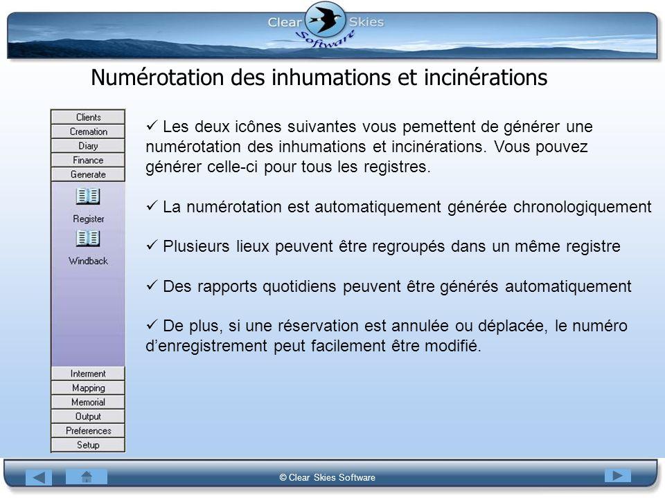 Bacas NG © Clear Skies Software Numérotation des inhumations et incinérations Les deux icônes suivantes vous pemettent de générer une numérotation des