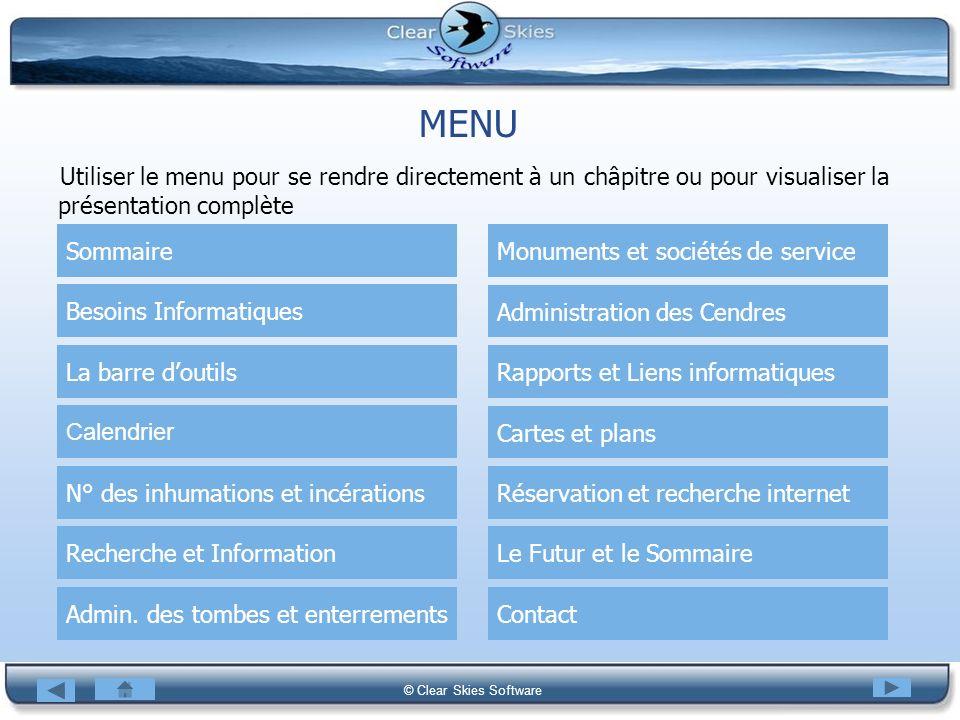 Bacas NG © Clear Skies Software MENU Utiliser le menu pour se rendre directement à un châpitre ou pour visualiser la présentation complète Sommaire La