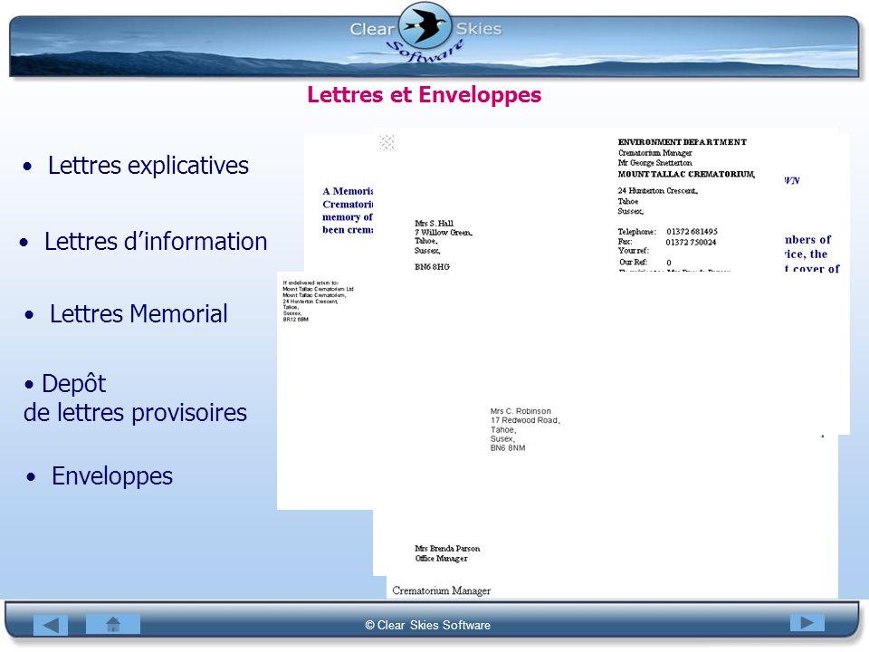 Bacas NG © Clear Skies Software Lettres et Enveloppes Lettres explicatives Lettres dinformation Lettres Memorial Depôt de lettres provisoires Envelopp