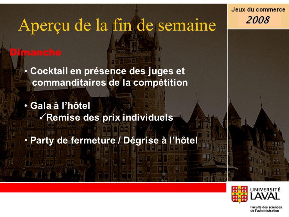 Dimanche Cocktail en présence des juges et commanditaires de la compétition Gala à lhôtel Remise des prix individuels Party de fermeture / Dégrise à l