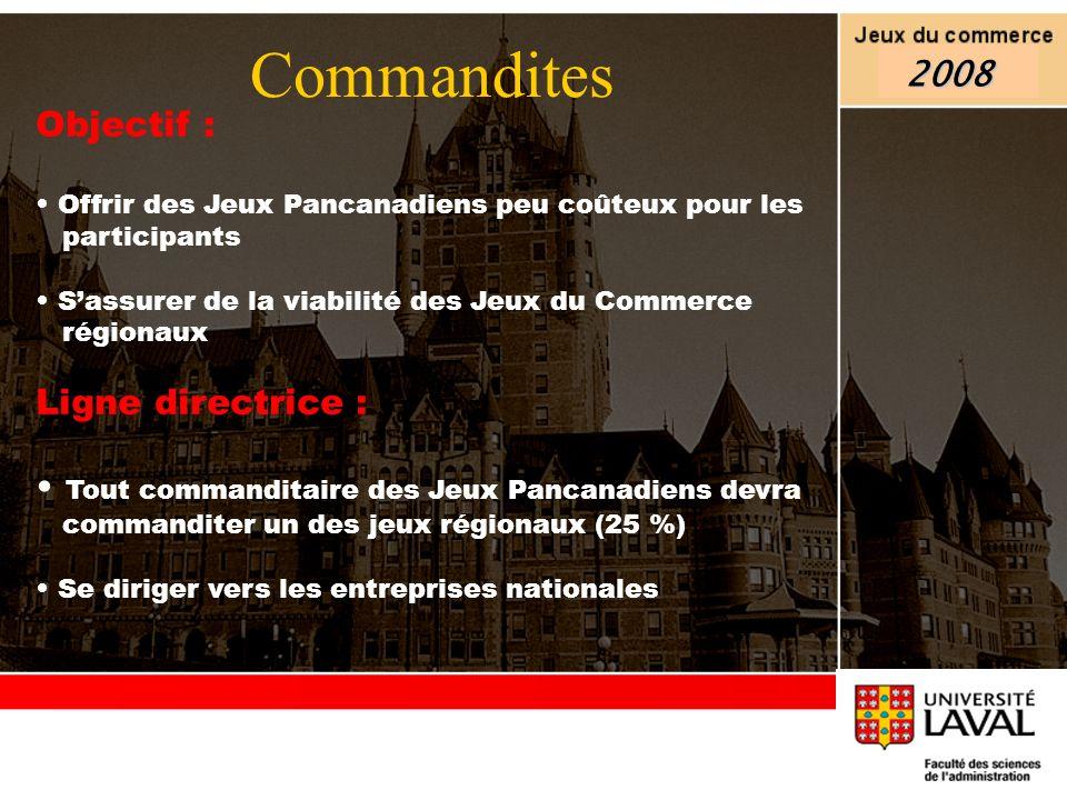 Objectif : Offrir des Jeux Pancanadiens peu coûteux pour les participants Sassurer de la viabilité des Jeux du Commerce régionaux Ligne directrice : T