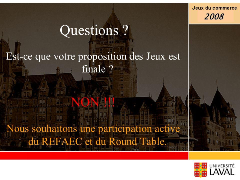 Questions ? Est-ce que votre proposition des Jeux est finale ? NON !!! Nous souhaitons une participation active du REFAEC et du Round Table. 2008