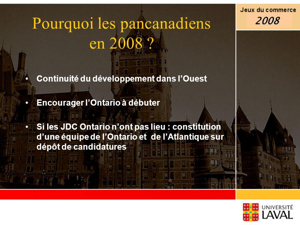 Continuité du développement dans lOuest Encourager lOntario à débuter Si les JDC Ontario nont pas lieu : constitution dune équipe de lOntario et de lA