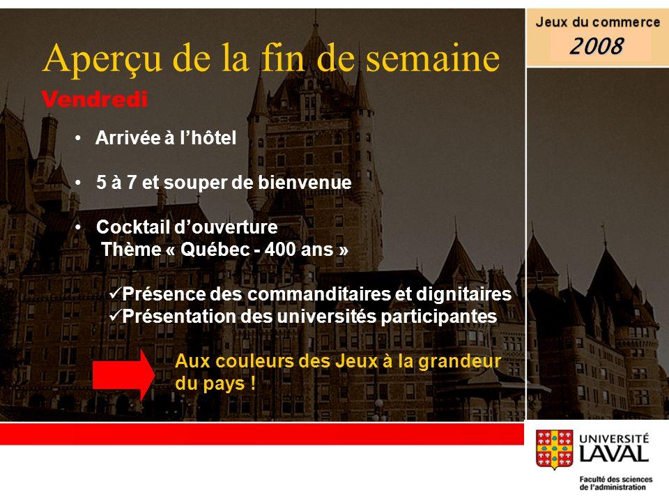Vendredi Arrivée à lhôtel 5 à 7 et souper de bienvenue Cocktail douverture Thème « Québec - 400 ans » Présence des commanditaires et dignitaires Prése
