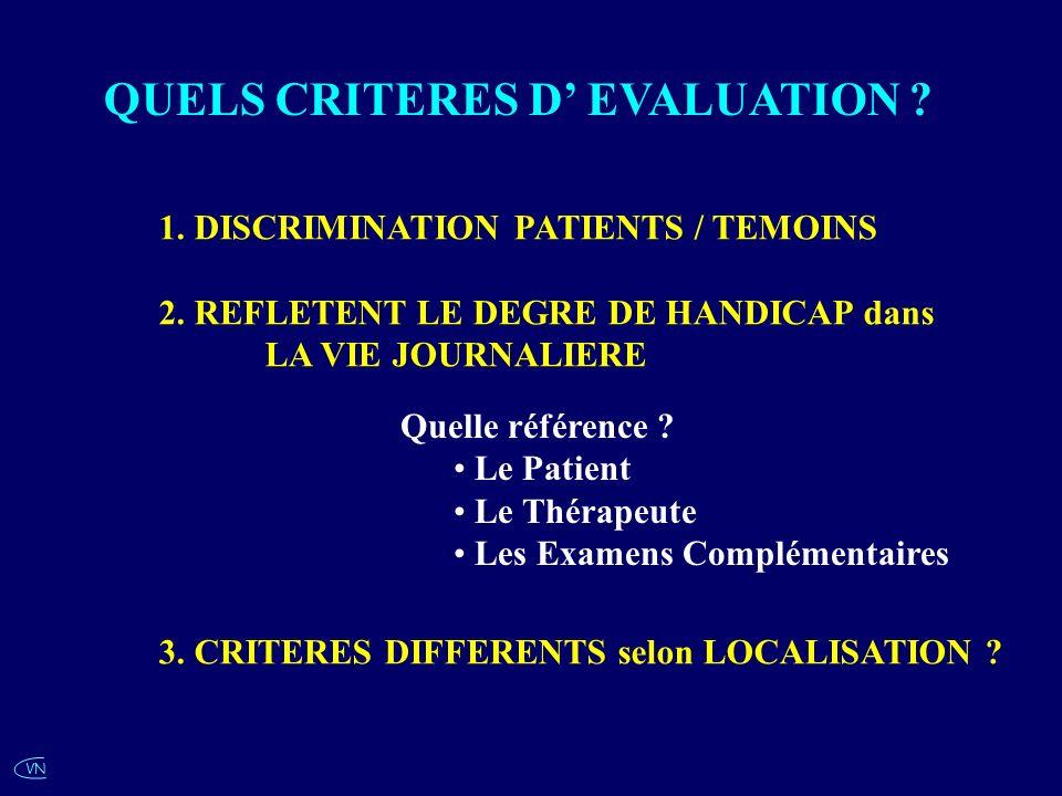 VN QUELS CRITERES D EVALUATION ? Quelle référence ? Le Patient Le Thérapeute Les Examens Complémentaires 1. DISCRIMINATION PATIENTS / TEMOINS 2. REFLE