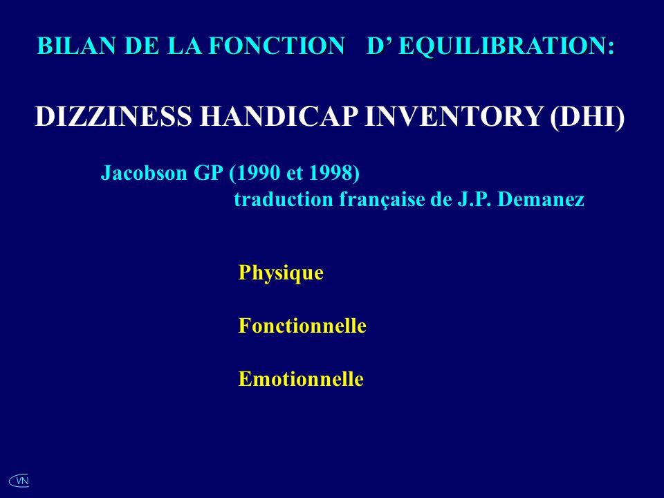 VN Jacobson GP (1990 et 1998) traduction française de J.P. Demanez Physique Fonctionnelle Emotionnelle BILAN DE LA FONCTION D EQUILIBRATION: DIZZINESS