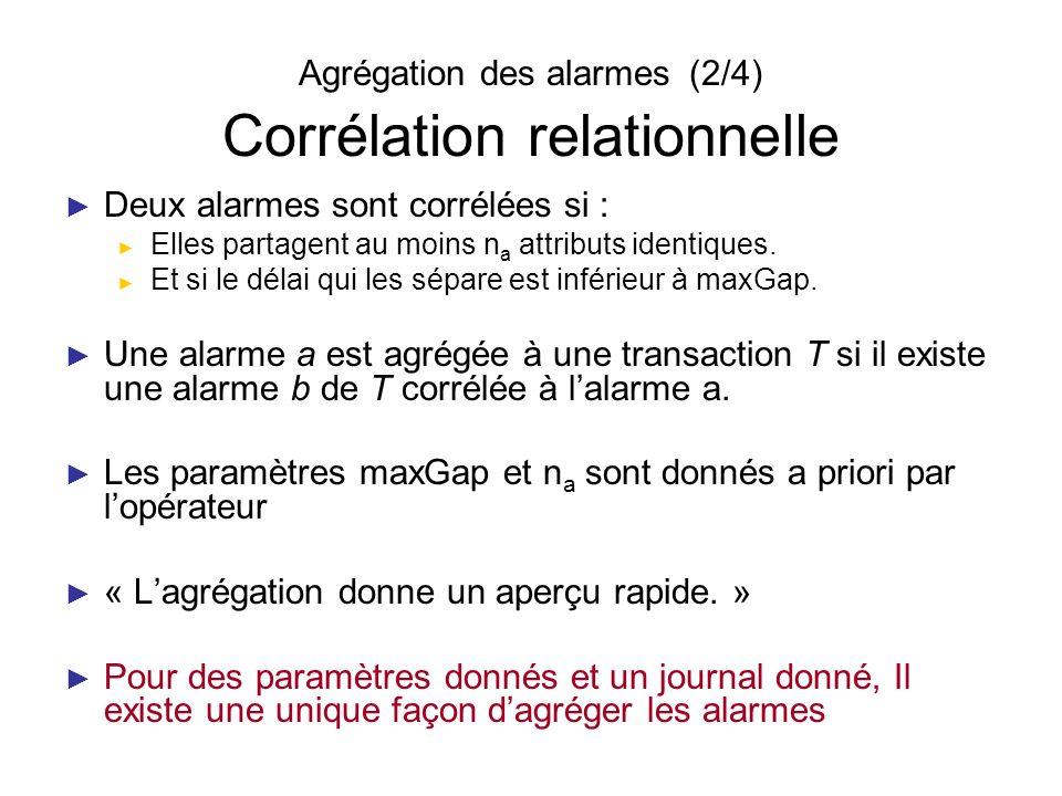 Agrégation des alarmes (2/4) Corrélation relationnelle Deux alarmes sont corrélées si : Elles partagent au moins n a attributs identiques. Et si le dé