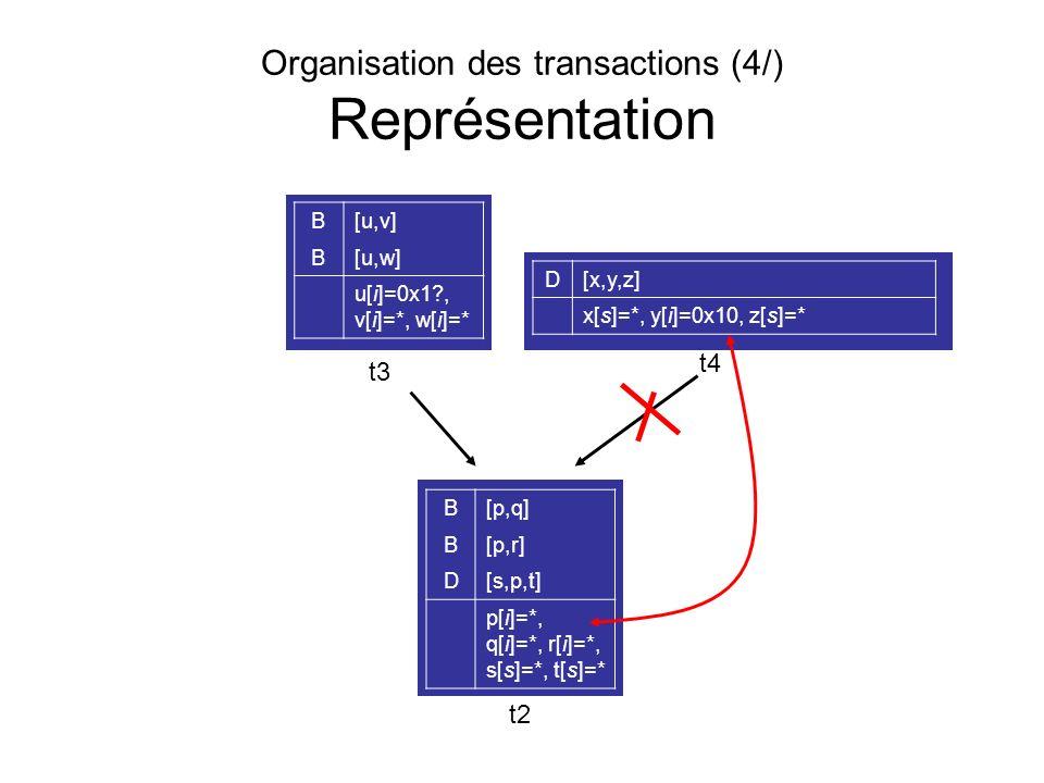 Organisation des transactions (4/) Représentation B[p,q] B[p,r] D[s,p,t] p[i]=*, q[i]=*, r[i]=*, s[s]=*, t[s]=* B[u,v] B[u,w] u[i]=0x1?, v[i]=*, w[i]=