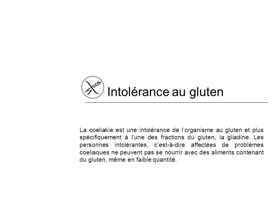 Intolérance au gluten La coeliakie est une intolérance de lorganisme au gluten et plus spécifiquement à lune des fractions du gluten, la gliadine.