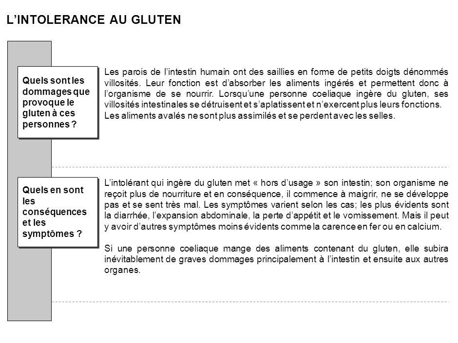 LINTOLERANCE AU GLUTEN La Gliadine, partie toxique du gluten, est une protéine contenue dans certaines céréales : le blé (froment, épeautre, kamut), l