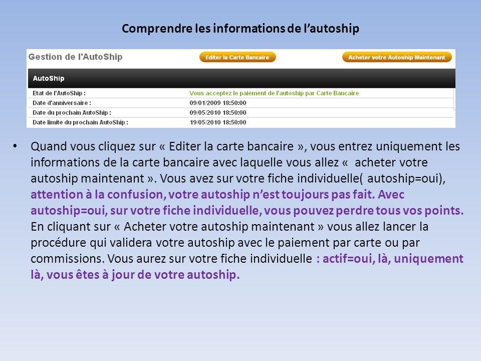 Comprendre les informations de lautoship Quand vous cliquez sur « Editer la carte bancaire », vous entrez uniquement les informations de la carte banc