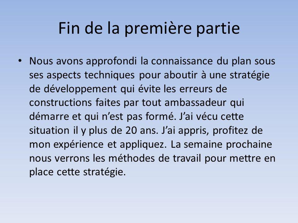 Fin de la première partie Nous avons approfondi la connaissance du plan sous ses aspects techniques pour aboutir à une stratégie de développement qui