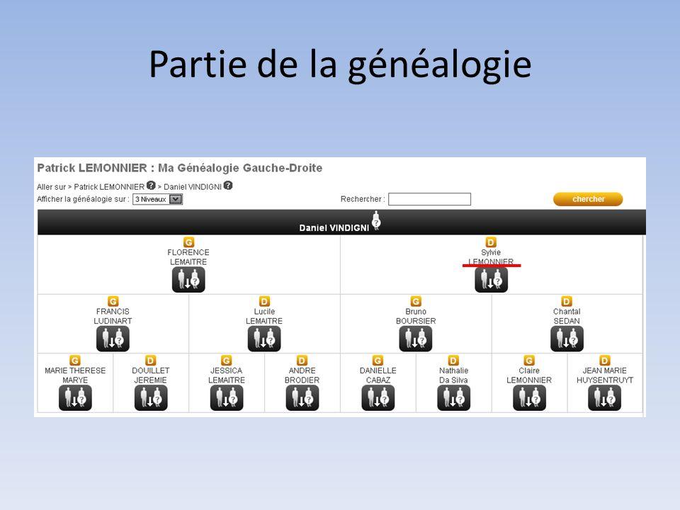 Partie de la généalogie