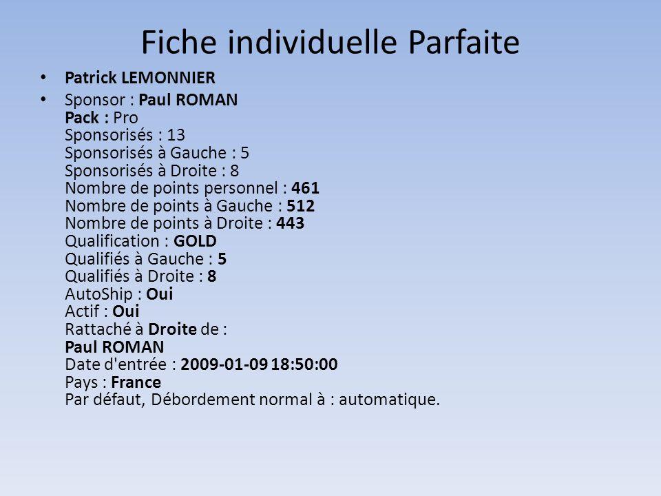 Fiche individuelle Parfaite Patrick LEMONNIER Sponsor : Paul ROMAN Pack : Pro Sponsorisés : 13 Sponsorisés à Gauche : 5 Sponsorisés à Droite : 8 Nombr