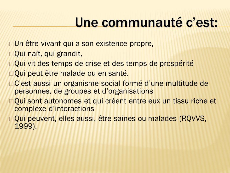 Une communauté cest: — Un être vivant qui a son existence propre, — Qui naît, qui grandit, — Qui vit des temps de crise et des temps de prospérité — Qui peut être malade ou en santé.