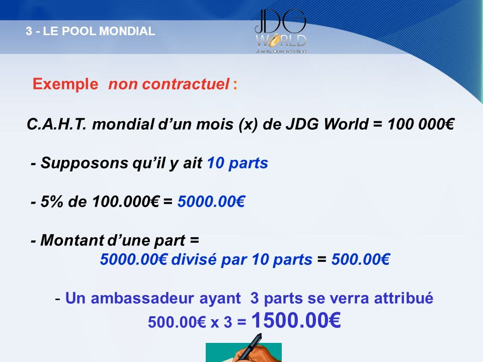 Exemple non contractuel : C.A.H.T. mondial dun mois (x) de JDG World = 100 000 - Supposons quil y ait 10 parts - 5% de 100.000 = 5000.00 - Montant dun