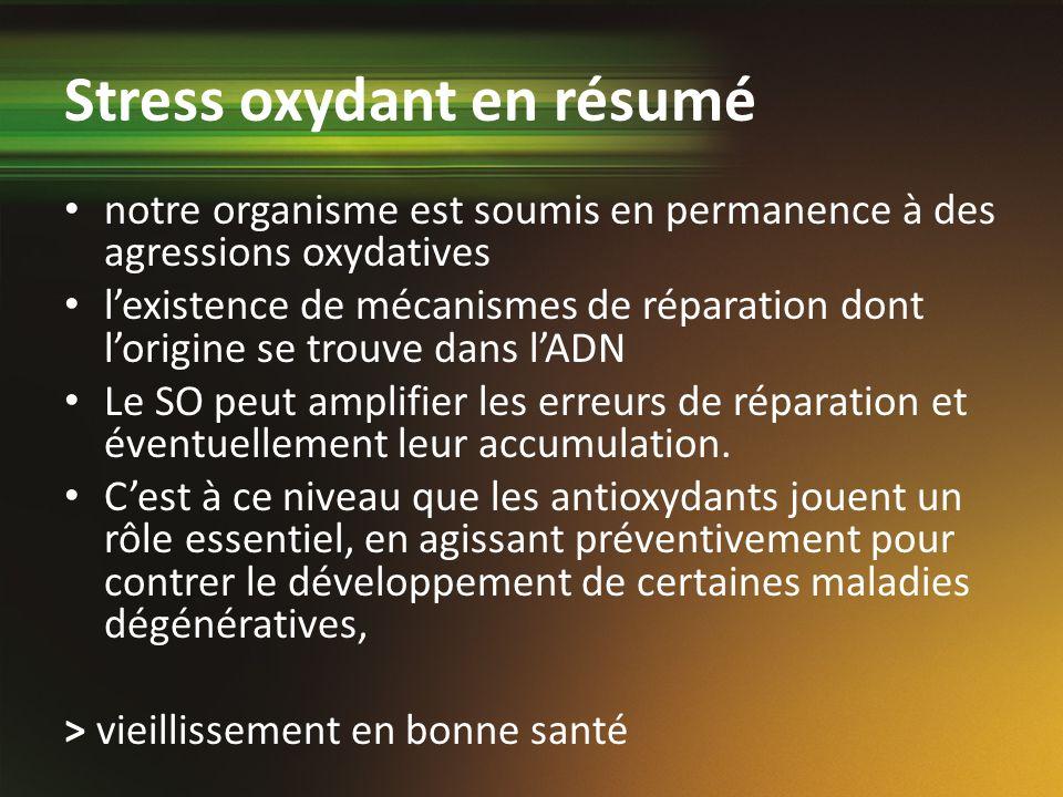 notre organisme est soumis en permanence à des agressions oxydatives lexistence de mécanismes de réparation dont lorigine se trouve dans lADN Le SO pe