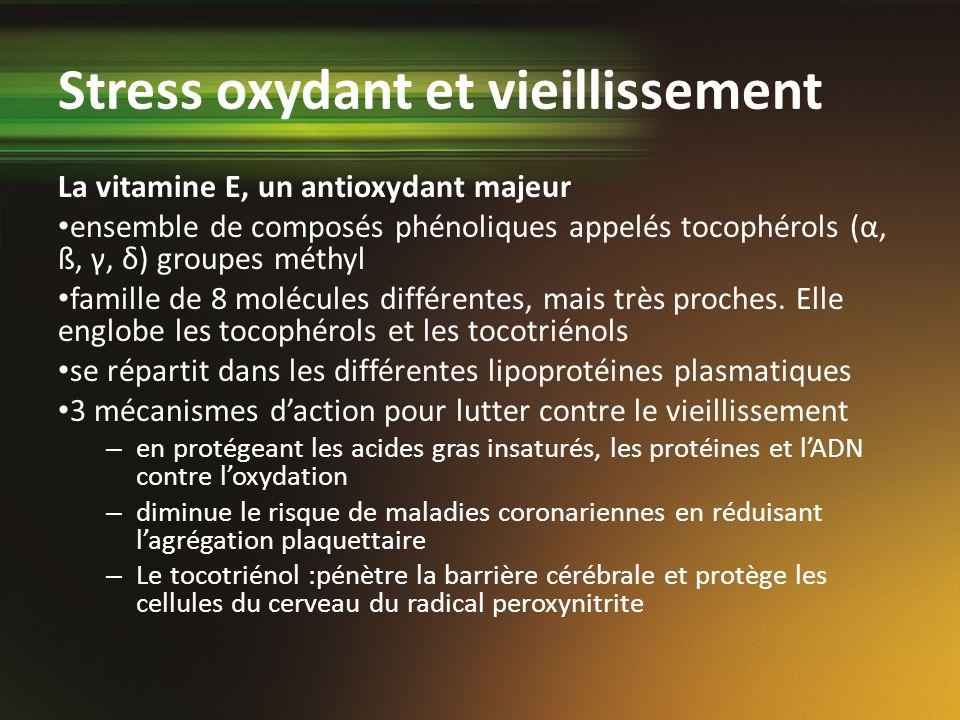 Stress oxydant et vieillissement La vitamine E, un antioxydant majeur ensemble de composés phénoliques appelés tocophérols (α, ß, γ, δ) groupes méthyl