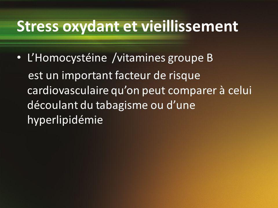Stress oxydant et vieillissement LHomocystéine /vitamines groupe B est un important facteur de risque cardiovasculaire quon peut comparer à celui déco