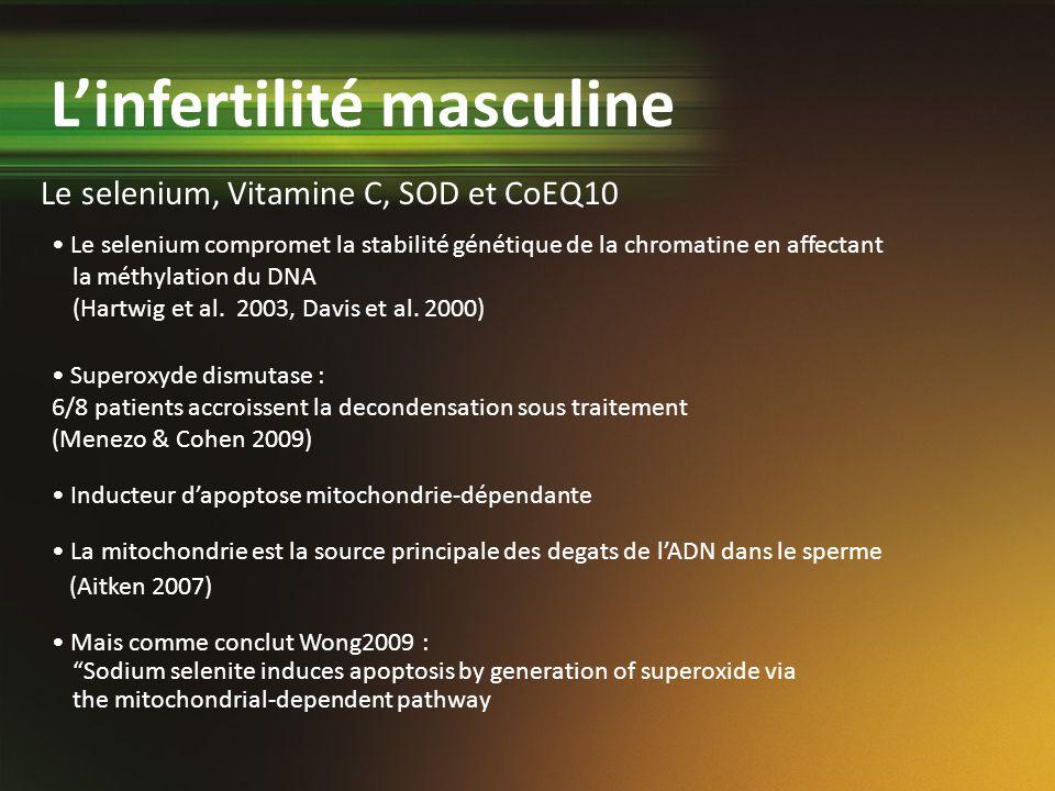 Le selenium compromet la stabilité génétique de la chromatine en affectant la méthylation du DNA (Hartwig et al. 2003, Davis et al. 2000) Superoxyde d