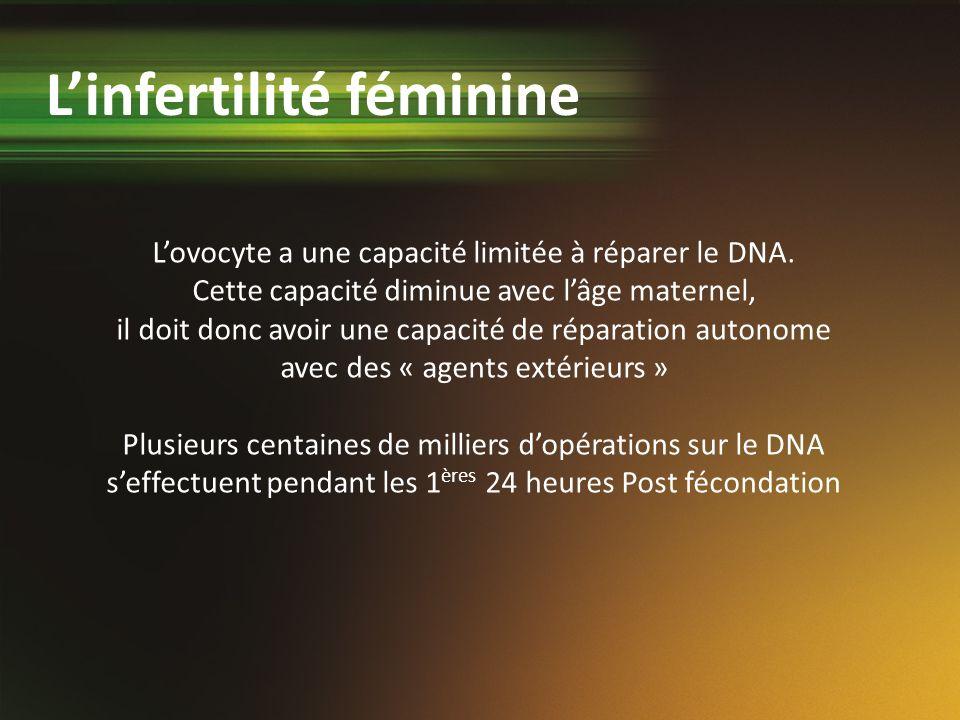 Lovocyte a une capacité limitée à réparer le DNA. Cette capacité diminue avec lâge maternel, il doit donc avoir une capacité de réparation autonome av