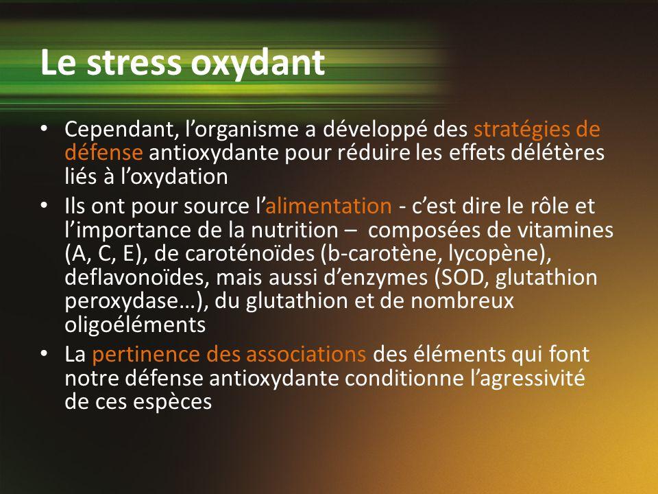 Cependant, lorganisme a développé des stratégies de défense antioxydante pour réduire les effets délétères liés à loxydation Ils ont pour source lalim