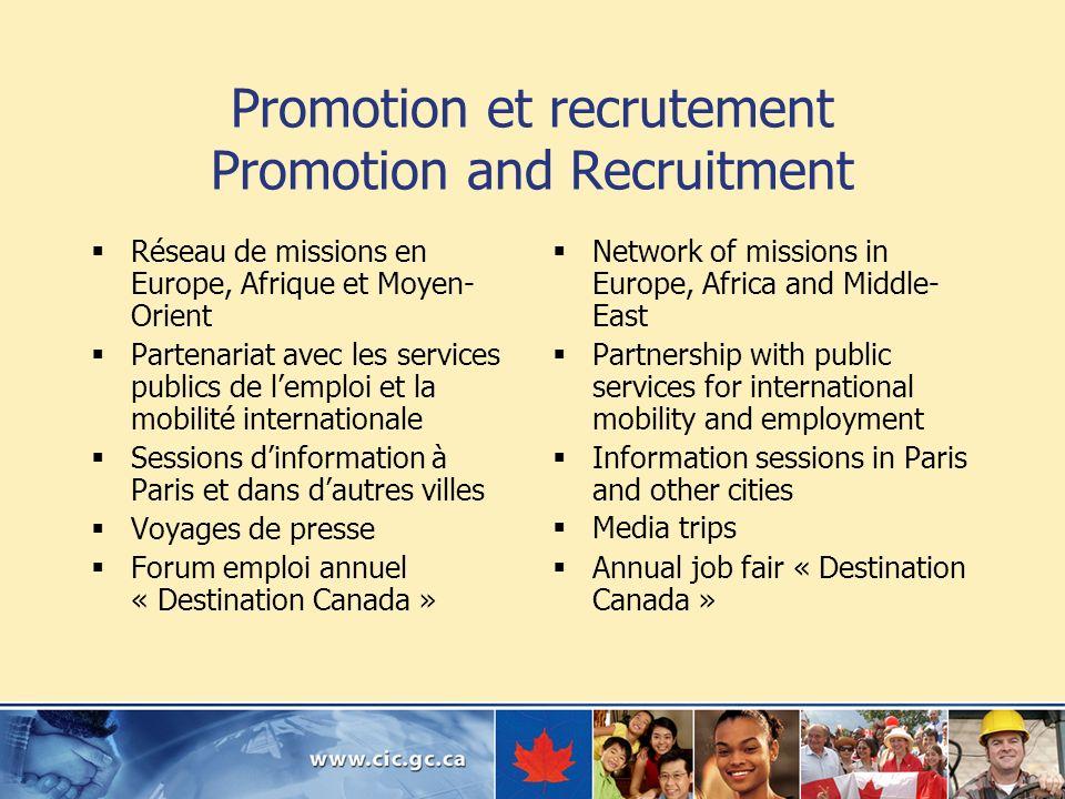 Promotion et recrutement Promotion and Recruitment Réseau de missions en Europe, Afrique et Moyen- Orient Partenariat avec les services publics de lem