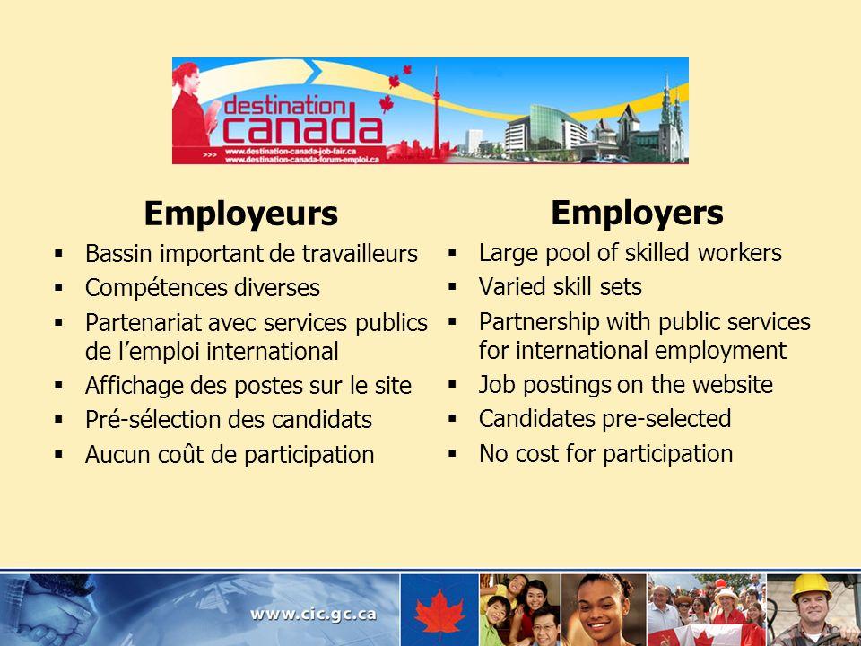 Employeurs Bassin important de travailleurs Compétences diverses Partenariat avec services publics de lemploi international Affichage des postes sur l
